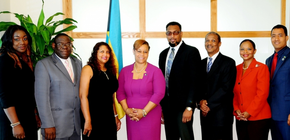 Pictured from left: Project Manager at Ministry of Financial Services (MFS), Ms. Sandiria Hall; Permanent Secretary (MFS), Mr. David Davis; Legal Consultant, Ms. Tira Greene; Minister C.V. Hope Strachan (MFS); Strategic Plan Consultant, Dr. Joseph I. Khan; Consultant at the Ministry of Financial Services, Mr. Hillary Deveaux; Director of the BBSQ, Dr. Renae Ferguson-Bufford; and Metrology Officer (CROSQ), David Tomlinson.