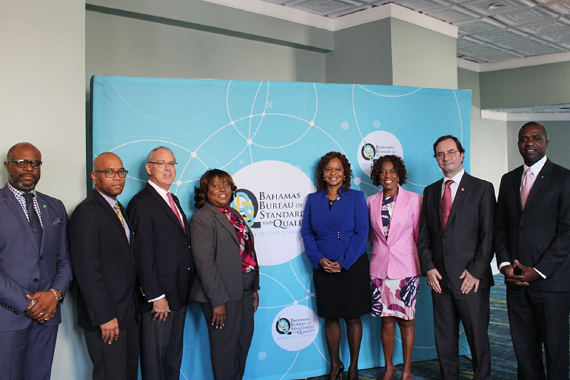 Photo Caption: (L-R) Edison Sumner, BBSQ Council Vice Chairman, Mohan Nanadwani,  CROSQ Representative, Hon. Brent Symonette (MP), Minister of Financial Services, Trade & Industry and Immigration, Pauline Curry, BBSQ Council Chair, Dr. Renae Bufford, BBSQ Director, Patricia Minnis, BBSQ Council Member, Sergio Mujica, ISO Secretary General and Hon. Ellsworth N. Johnson, Min. of State for Legal Affairs, Office of The Attorney General (Acting Minister of Labour)