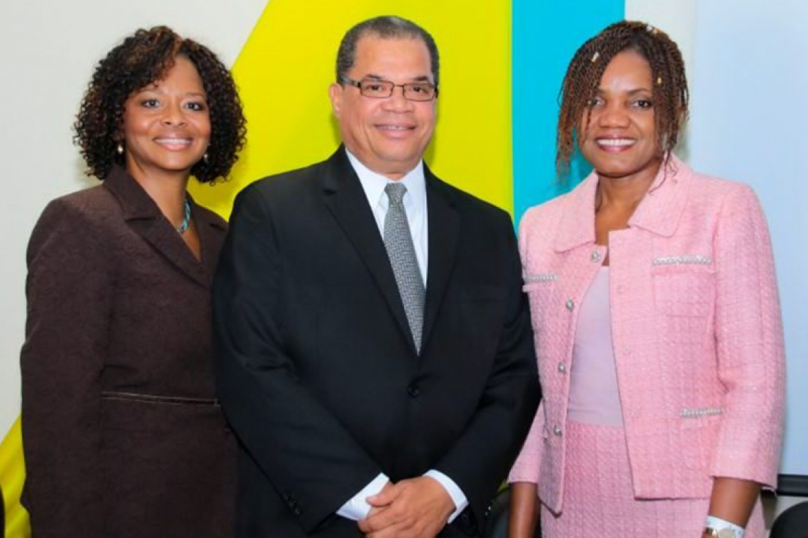 Photo Caption: (L-R) BBSQ Director, Dr. Renae Bufford, The Hon. Dion Foulkes Minister of Labour, and JANAAC CEO, Sharonmae Shirley